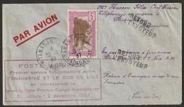 MADAGASCAR Lettre Recommandée 1937 PREMIER VOL - Madagascar (1889-1960)