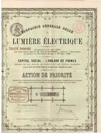 Action Ancienne - Compagnie Générale Belge De Lumière Electrique - Titre De 1880 - Rare - Electricité & Gaz