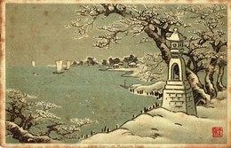 Cpa Japon Illustration Scène De Neige De Mukojima Tokyo,timbre Néerlandais. - Tokyo