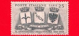 Nuovo - MNH - ITALIA - 1958 - 40º Anniversario Della Vittoria Nella 1 Guerra Mondiale - Stemmi Di Trieste, Roma - 25 L. - 6. 1946-.. Republic