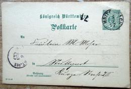 Württemberg Gansache 5 Pfg. Grün Seltener Einkreisstempel Haiterbach 1897 - Wuerttemberg