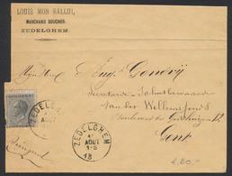 """émission 1865 - N°17 Sur Pli """"Marchand Boucher"""" Obl Simple Cercle """"Zedelghem"""" Vers Gent /Pas Courant, TB - 1865-1866 Profil Gauche"""