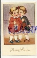 Bonne Année. Couple D'enfants, Cadeau, Trèfles. Signée Gougeon - Anno Nuovo
