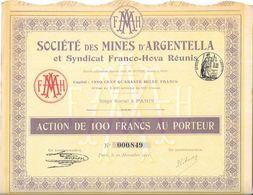 Lot De 3 Actions Ste MINES ARGENTELLA (Haute Corse) - Actions & Titres