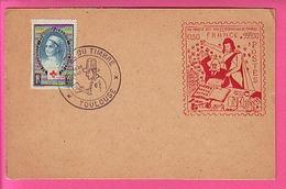 TOULOUSE OBLI JOURNEE DU TIMBRE 1948 SUR N° 422  CROIX ROUGE  Carte émise Au Profit Des Collectionneurs De T Timbres à - Postmark Collection (Covers)