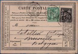 France, Postal Stationery Type 1873, Imprinted Avril 1878, Franking 5+10c Sage N Sous U,  Paris 20 Avril 78 To Belgium - Postal Stamped Stationery