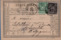 France, Postal Stationery Type 1873, Imprinted Juin 1878, Franking 5+10c Sage N Sous U,  Paris 20 Avril 78 To Belgium - Postal Stamped Stationery