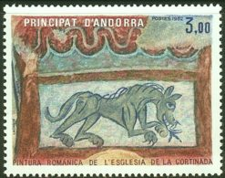 Andorra French Post 1982 1 Value MNH Roman Fresco La Cortanida Church Animal Horse - Religious