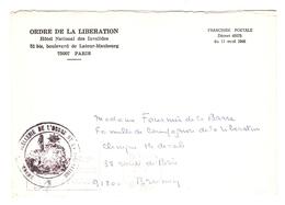 LETTRE FM (décret Du 11/4/1946) 1976 CHANCELLERIE ORDRE DE LA LIBÉRATION Mme FOURNIER DE LA BARRE COMPAGNON LIBÉRATION - Marcophilie (Lettres)