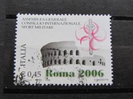 *ITALIA* USATI 2006 - ASSEMBLEA CONSIGLIO SPORT MILITARE - SASSONE 2911 - LUSSO/FIOR DI STAMPA - 6. 1946-.. Repubblica