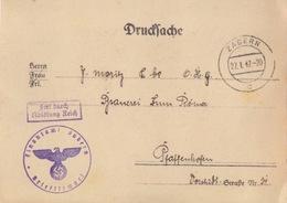 Postkarte Pré-imprimée De La Finanzamt Obl Saverne (T325 Zabern C) En Franchise Le 27/1/42 Pour Pfaffenhoffen - Alsace-Lorraine