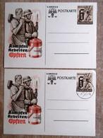 DR Ganzsachen 6+4 Pfg. Kriegs WHW Kämpfen, Arbeiten, Opfern Ungebraucht/Stempel Quedlingburg - Deutschland