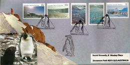 Paysages Du Territoire Antarctique Australien. FDC Oblitération Pingouins, Série AAT Nr 68/72, Année 1985 - Preservare Le Regioni Polari E Ghiacciai