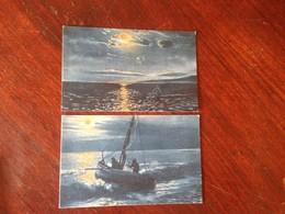 Cartolina Illustrata Mare Barca Pescatori Azzurrate Lotto Di 2 Cartoline NVG CGM - Cartoline