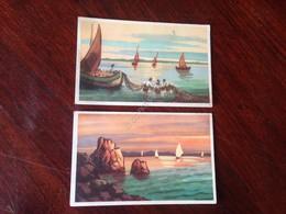 Cartolina Illustrata Mare Barca Pescatori Lotto Di 2 Cartoline NVG N.2050/7 E /4 - Cartoline