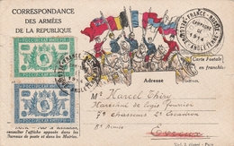 France Carte Militaire Illustrée Campagne De 1914 - Marcophilie (Lettres)