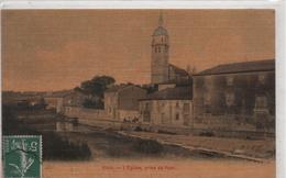 B60 Cpa Toilée ETAIN L'église Prise Du Pont-maisons-rue Animée-belle Carte Légèrement Colorée - Etain