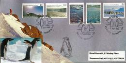 Paysages & Faune Du Territoire Antarctique Australien. FDC Oblitération Pingouins, Série AAT Nr 68/72, Année 1985 - Events & Commemorations