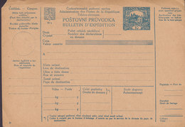 Czechoslovakia Postal Stationery Ganzsache Entier Bulletin D'Expedition Freight Bill Paketkarte (Unused) - Cartes Postales