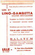 "L LG T/Buvard   Linoléum  Balatum ""Lino-Gambetta"" (N= 1)  Peu Commun N'existe Plus - Buvards, Protège-cahiers Illustrés"