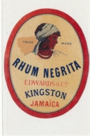 995  / ETIQUETTE  DE RHUM  NEGRITA EDWARDS  KINGSTON  JAMAICA - Rhum