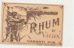 1000  / ETIQUETTE  DE RHUM    VIEUX   GARANTI PUR - Rhum