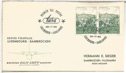 LUXEMBOURG  PRIMER VUELO 1961 LUXEMBURGO SAARBRUCKEN NAH LUFT - Cartas