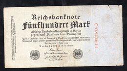 Germania / Germany - 500 Mark Reichsbanknote 1922 - [ 3] 1918-1933 : Repubblica  Di Weimar