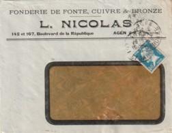 *** 47  *** AGEN  Fonte De Cuivre Et Bronze Enveloppe Illustrée - Agricultura