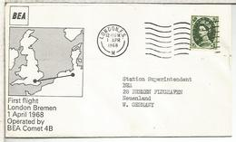 REINO UNIDO 1968 PRIMER VUELO BEA LONDON BREMEN COMET 4B - Briefe U. Dokumente