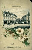 """Mulhouse  """"Place Du Nouveau Quartier""""  Gruss Aus..;(petit Coin Manquant) 1916 - Mulhouse"""