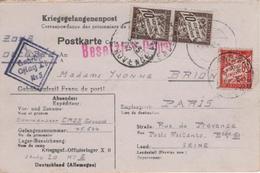 Correspondance Prisonniers Guerre Kriegsgefandenenpost Oflag Taxe Poste Restante 50 Cts 14 04 1942 Rare - Marcophilie (Lettres)