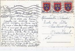 TP N° 838 X 3  SUR CP DE 1950 - 1941-66 Armoiries Et Blasons
