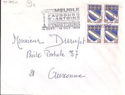 TP N° 1353x4   SUR LETTRE DE 1969 - 1941-66 Armoiries Et Blasons