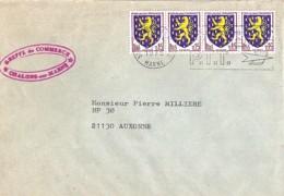 TP N° 1354 X 4 SUR LETTRE  DE 1975 - 1941-66 Armoiries Et Blasons
