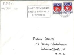 TP N° 1354B X 2  SUR LETTRE DE 1968 POUR ALLEMAGNE DE L'EST - 1941-66 Armoiries Et Blasons