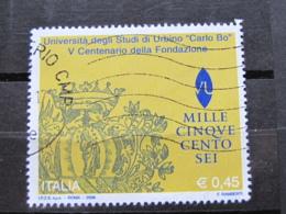 *ITALIA* USATI 2006 - 23^ SCUOLE D'ITALIA CARLO BO URBINO - SASSONE 2867 - LUSSO/FIOR DI STAMPA - 6. 1946-.. Repubblica