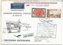 LUXEMBOURG 1956 CC PRIMER VUELO LUFTHANSA HAMBURG MONTREAL CHICAGO - Aéreos