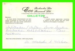 ADVERTISING, PUBLICITÉ - ECO RECHERCHES LTÉE, POINTE CLAIRE, QUÉBEC - CIRCULÉE EN 1978 - - Publicité