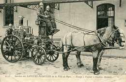 Carte Postale Ancienne 1912 Services Des Sapeurs-Pompiers De La Ville De Paris Pompe à Vapeur à Traction Animale Chevaux - Other