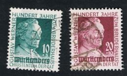 1949  3. Sept. Würtemberg 100 J. Gustav-Werner-Stiftung Mi 47 - 48 Yt 44 - 45 Sg  47 - 48 AFA 48 - 49 Gestempelt O - Französische Zone