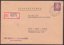 Spremberg Miederlausitz R-Brief 4.7.55, VEB Spremberg Maschinenbau 70 Pf. Dienstpost Nach Karl-Marx-Stadt - Service
