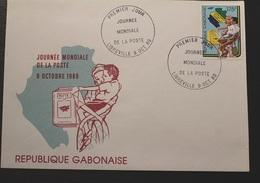Enveloppe 1° Jour GABON Journée Mondiale De La Poste 9 Octobre1989 - Gabon (1960-...)