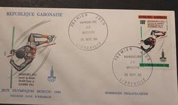 Enveloppe 1° Jour GABON Jeux Olympiques MOSCOU 25 Septembre 1980 - Gabon (1960-...)
