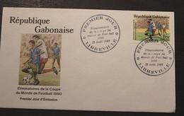 Enveloppe 1° Jour GABON Eliminatoires Coupe Du Monde De Foot 22 Aout  1989 - Gabon (1960-...)