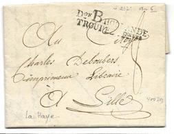 Marque D'Armée ARMEE DE HOLLANDE Marque Noire Don B HOLLANDE TROUPES FRaises Au Départ De LA HAYE 26 Pluviose An 6 ..G - Marcophilie (Lettres)