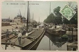 Bruxelles Le Canal Et Allée Verte Avec Péniches (haut De La Carte Un Peu Abimé) - Maritiem