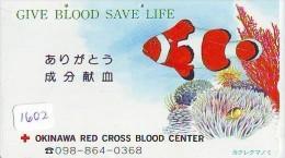 Telecarte Japon * Croix Rouge (1602) PHONECARD JAPAN * Red Cross * TELEFONKARTE * ROTES KREUZ * POISSON * FISH * CORAL - Publicité