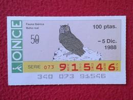 SPAIN DÉCIMO CUPÓN DE ONCE LOTERÍA LOTTERY LOTERIE ANIMAL FAUNA IBÉRICA WILDLIFE BÚHO REAL LECHUZA O SIMIL OWL HIBOU VER - Billetes De Lotería