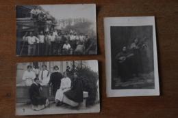 3 Cartes Photos Joueurs De Musique  , Scene Agricole  Vers 1910 - Autres